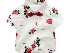 Chemise enfant blanche avec imprimé roses rouges