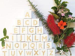 Cubes déco alphabet en bois couleur blanc