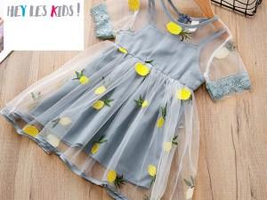 Jolie robe pour fille couleur bleu gris