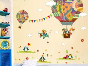 Sticker mural montgolfière chambre enfant
