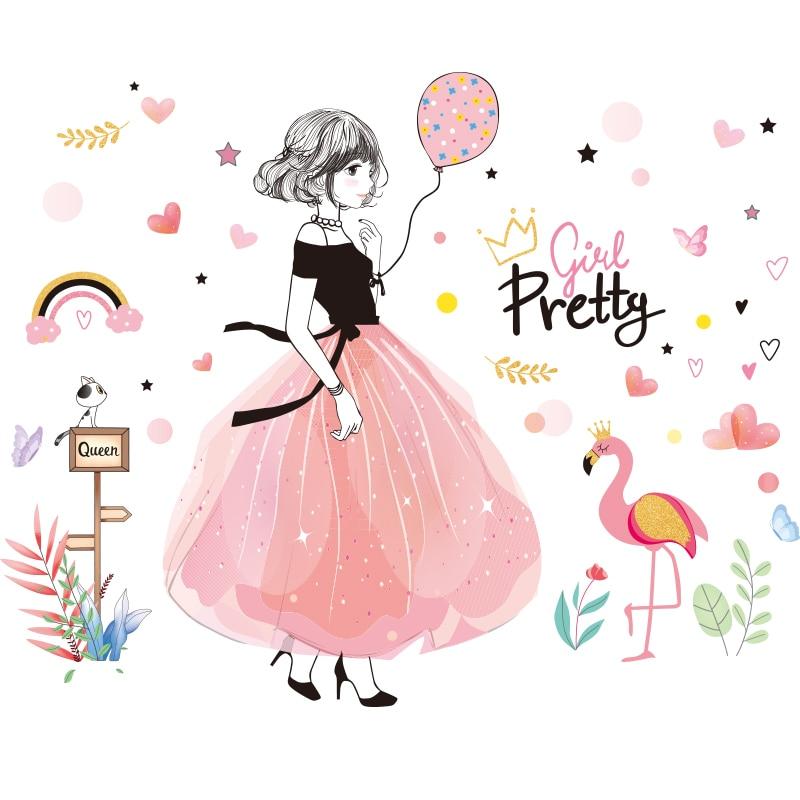 Stickers muraux chambre fille avec silhouette fille élégante et flamant rose