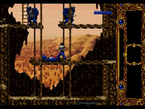 Blackthorne: Kyle Blackthorne stands on a middle platform while two enemy Grag'ohr (orcs) position themselves either side of a gap on the ledge above.