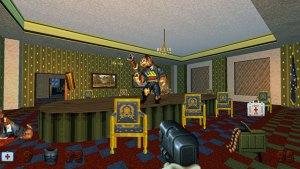 Duke Nukem: Duke stands in a Whitehouse board room firing at one of the 'Pig Cops'.
