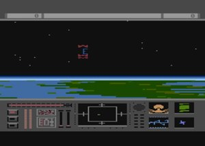 Star Raiders II: Bottom section of the screen shows a starship status panel. Above shows a starfield with a section of land beneath it. Three red ships are flying in for an attack towards the middle of the starfield.
