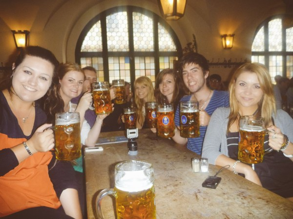 Grabbing a bit in the famous Beer Halls in Munich, Germany!