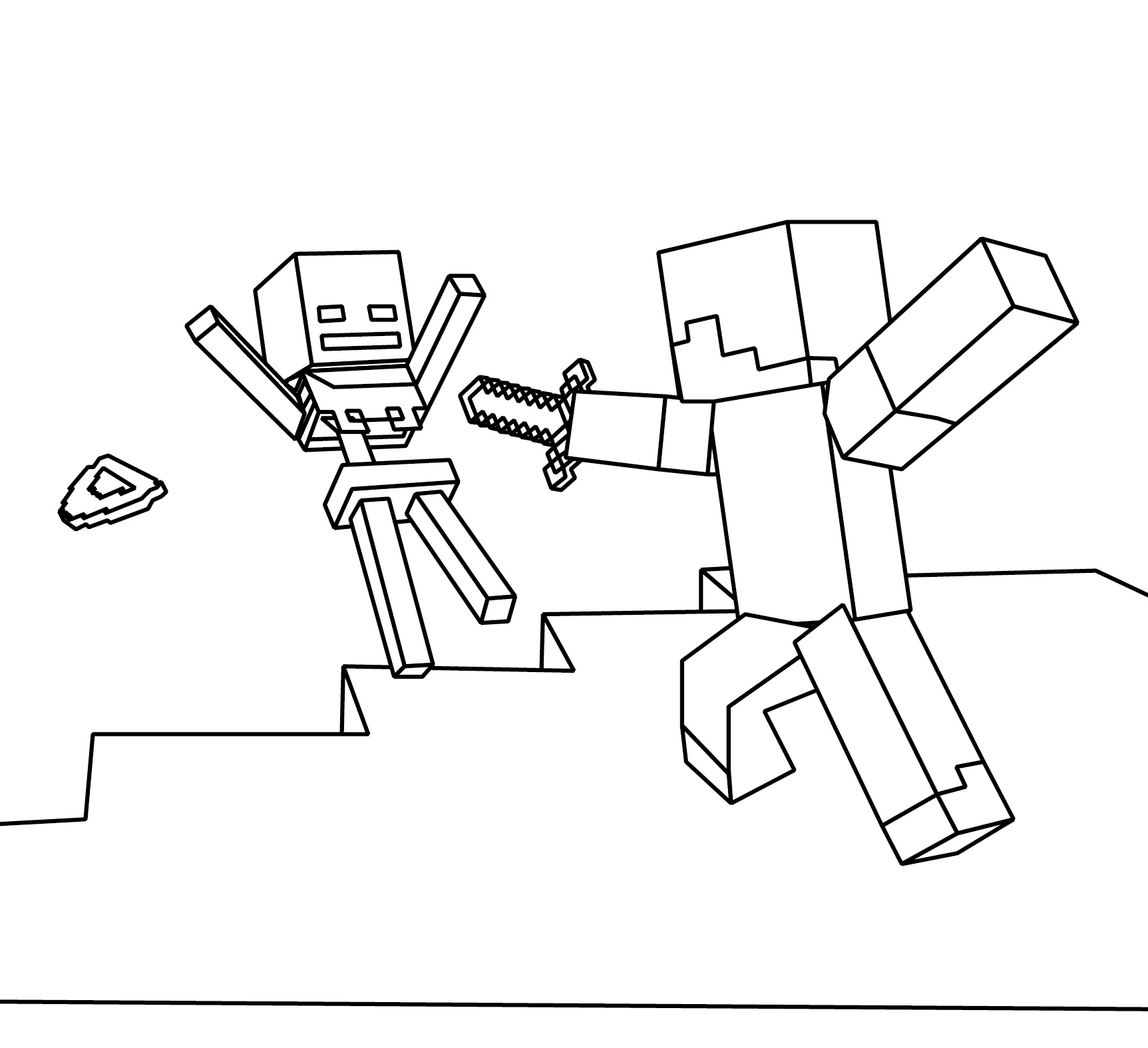 minecraft coloring page coloring picture steve and skeleton