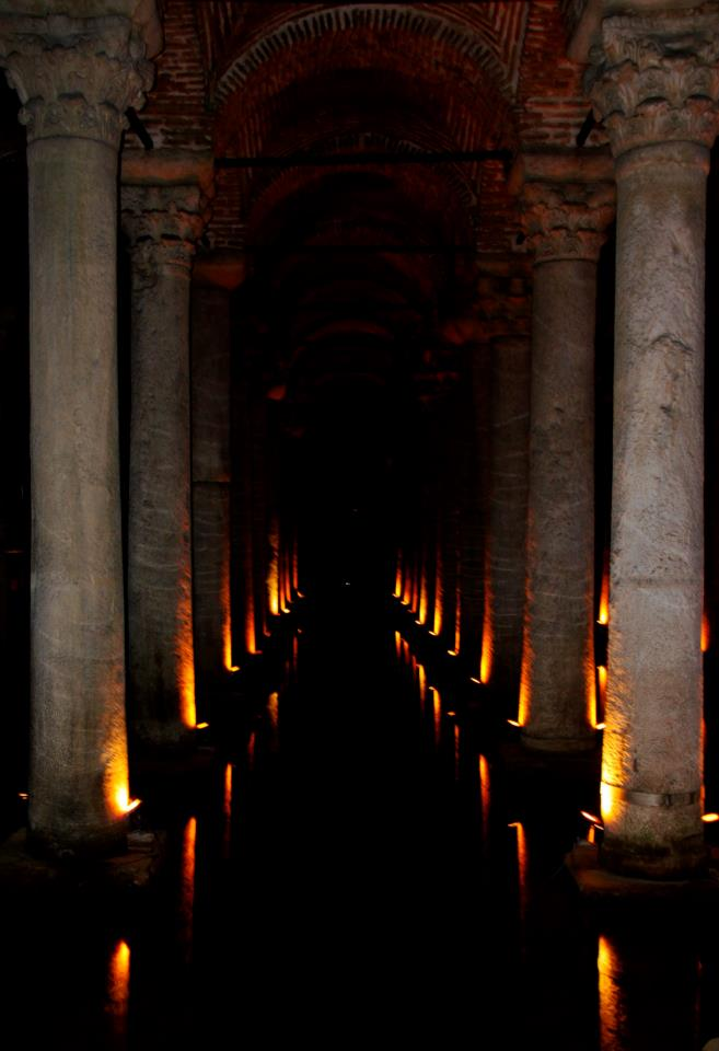 Pillars lit up at the Basilica Cistern