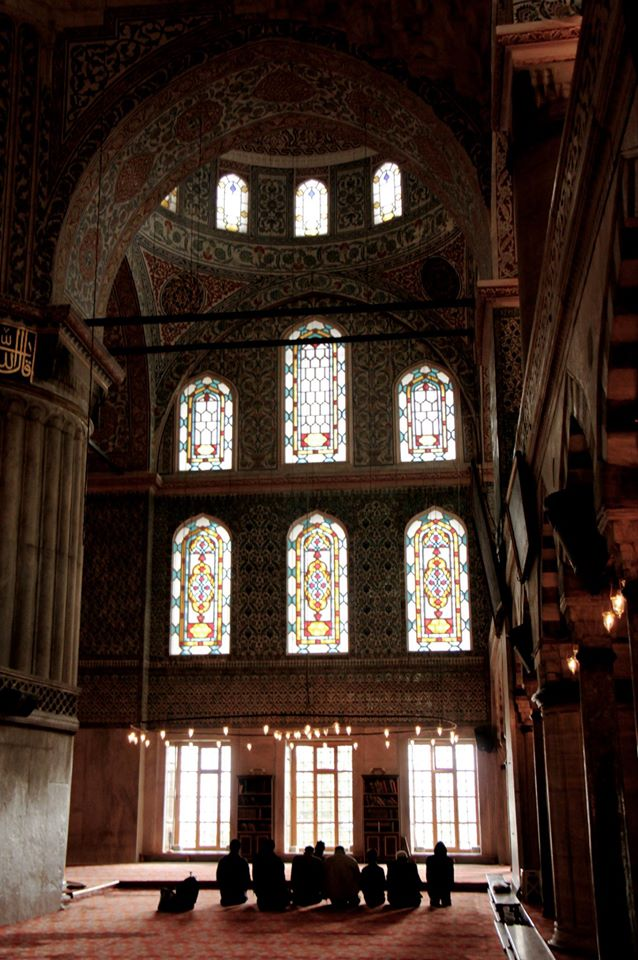 Stained glass windows inside the Blue Mosque