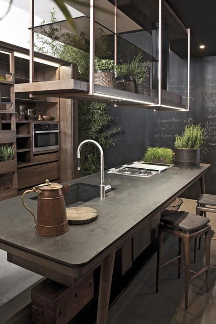 HeyRashmi home decor ideas - concrete, wood and copper kitchen