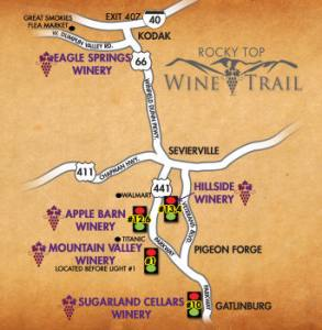 Rocky Top Wine Trail Map Smoky Mountains