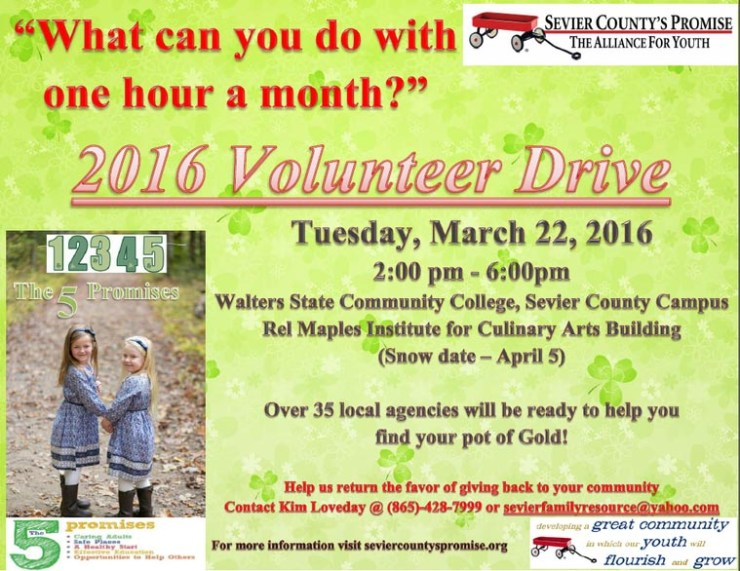 americas promise volunteer drive sevier county TN March 22 2016