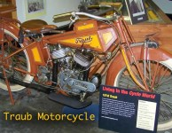 Rare 1916 Traub Motorcycle on display in Maggie Valley, North Carolina.