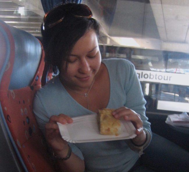 Interior of Eurolines coach bus