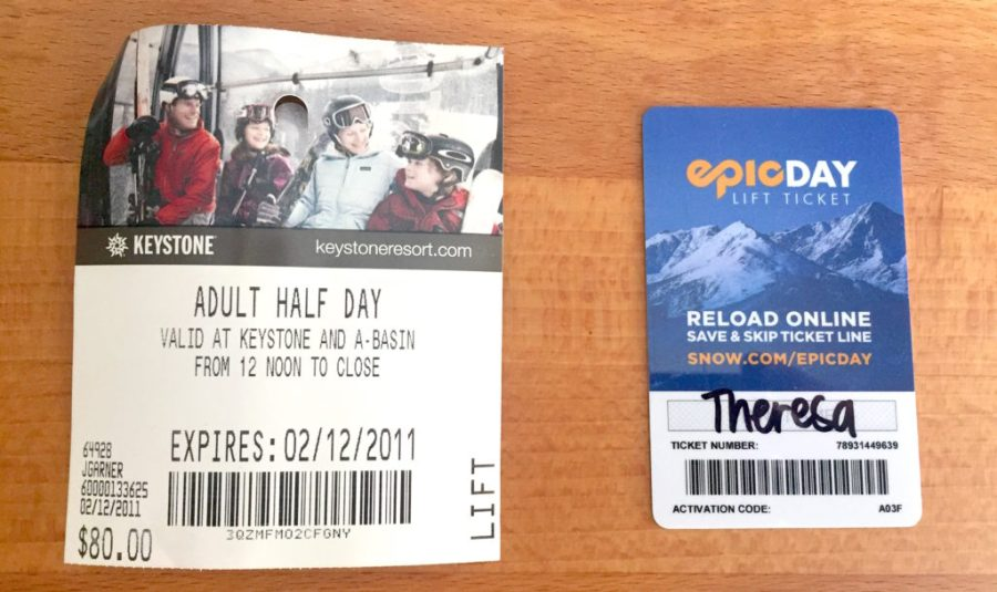 2011 and 2018 half day lift tickets in Keystone, CO