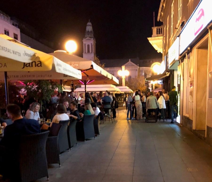 Zagreb, Croatia nighttime outdoor cafes