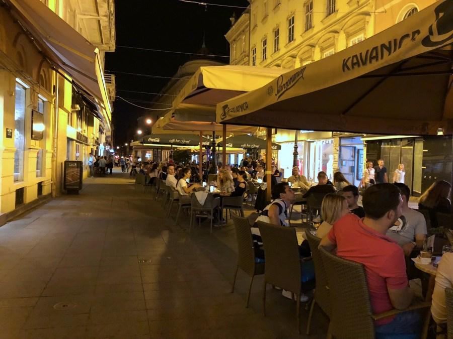 Zagreb, Croatia night time outdoor cafe