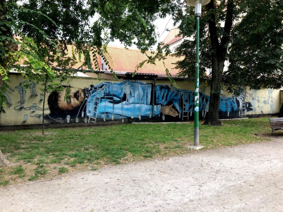 Gulliver painting in Zagreb park