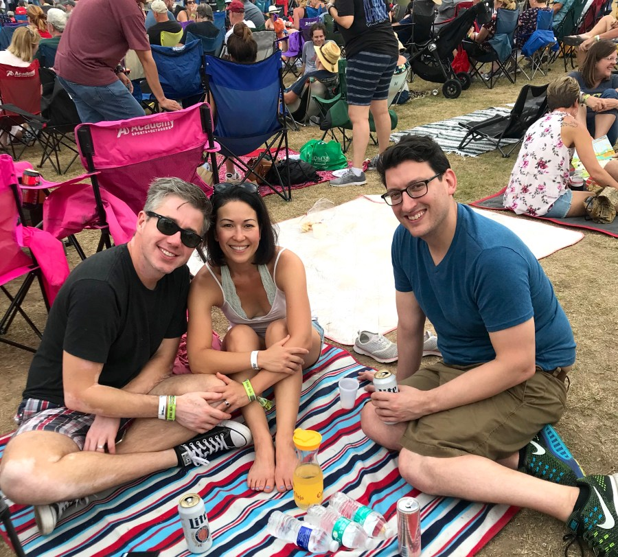sitting on a picnic blanket at ACL music fest 2018 Austin City Limits Austin Texas
