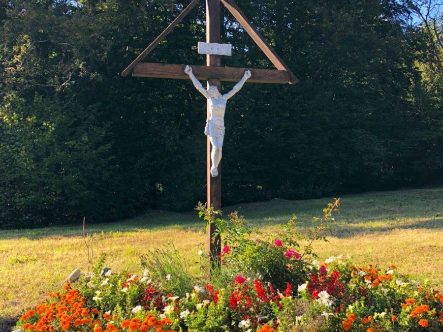 large crucifix at Mukinje bus stop near Plitvice Lakes, Croatia