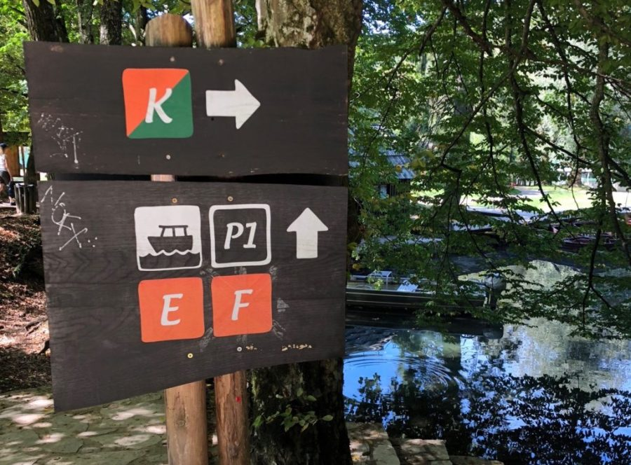 trail signs at Plitvice Lakes National Park, Croatia