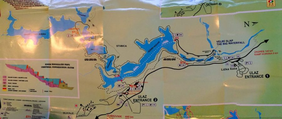 large map of Plitvice Lakes National Park, Croatia