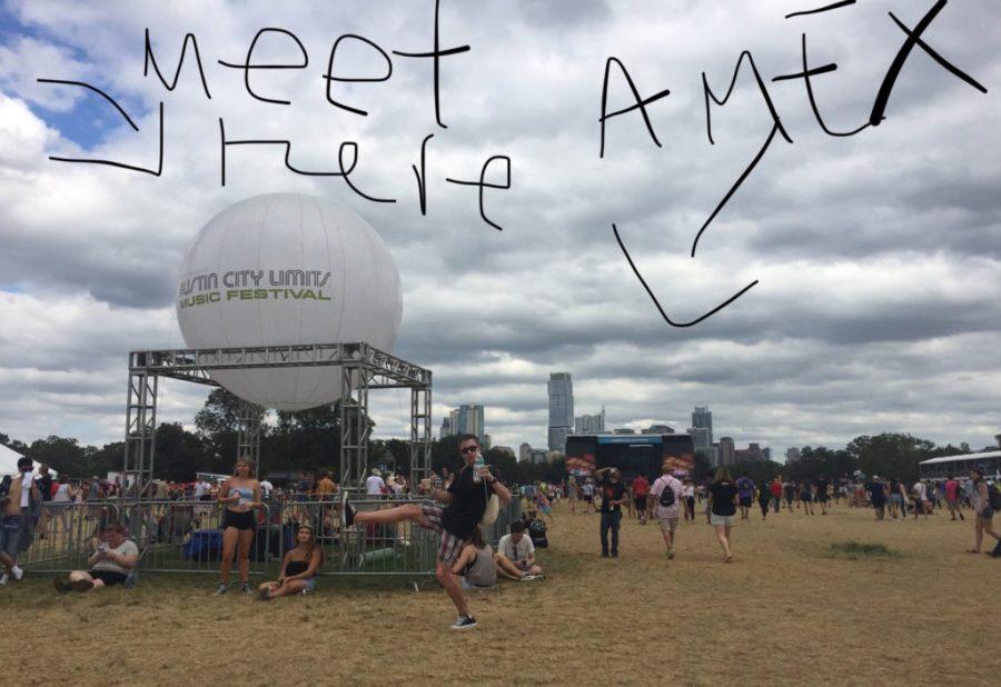 meet here sign at ACL - near the big white balloon Austin City Limits Austin Texas