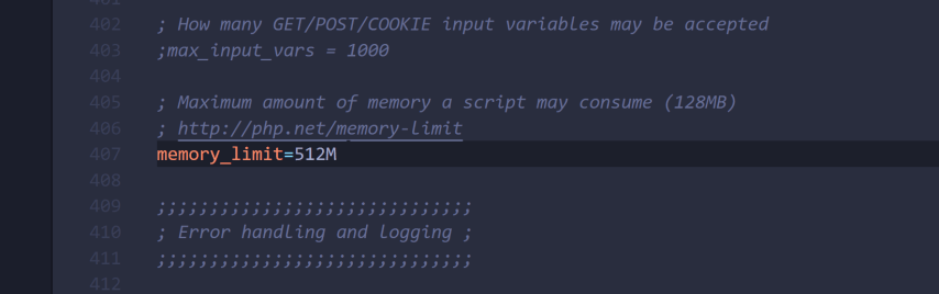 update the php.ini configuration file to raise the memory_limit for the entire web server