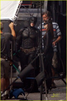 """Christian Bale, Anne Hathaway and Gary Oldman on the set of """"Dark Knight Rises"""""""