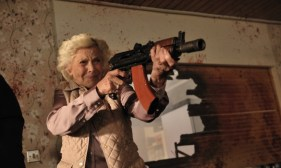 Honor Blackman with a Shotgun in Cockneys vs Zombies