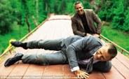 Daniel Craig and Ola Rapace on set of Skyfall
