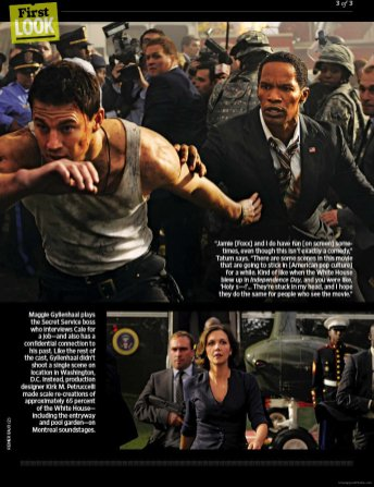Channing Tatum, Jamie Foxx, and Maggie Gyllenhaal in White House Down
