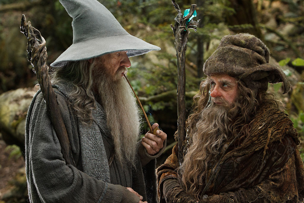 Ian-McKellen-and-Sylvester-McCoy-in-The-Hobbit-An-Unexpected-Journey