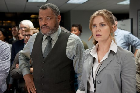 Laurence Fishburne and Amy Adams in Man of Steel
