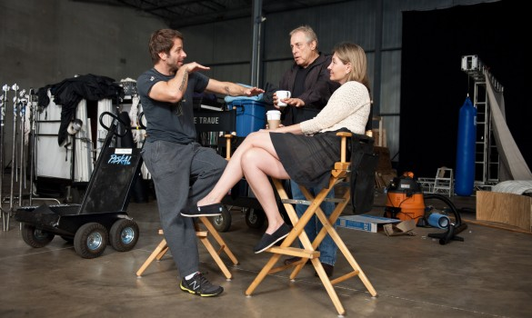Zack Snyder, Charles Roven and Deborah Snyder on set of Man of Steel
