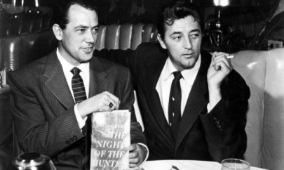 Publicity photo of producer Paul Gregory and Robert Mitchum used to announce his casting