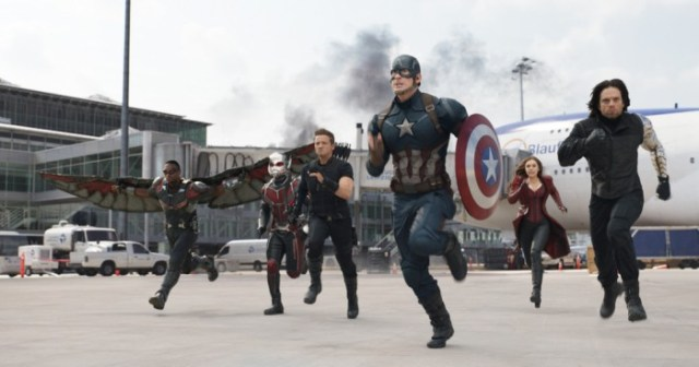 Marvel's Captain America: Civil War..L to R: Falcon/Sam Wilson (Anthony Mackie), Ant-Man/Scott Lang (Paul Rudd), Hawkeye/Clint Barton (Jeremy Renner), Captain America/Steve Rogers (Chris Evans), Scarlet Witch/Wanda Maximoff (Elizabeth Olsen), and Winter Soldier/Bucky Barnes (Sebastian Stan)..Photo Credit: Film Frame..? Marvel 2016