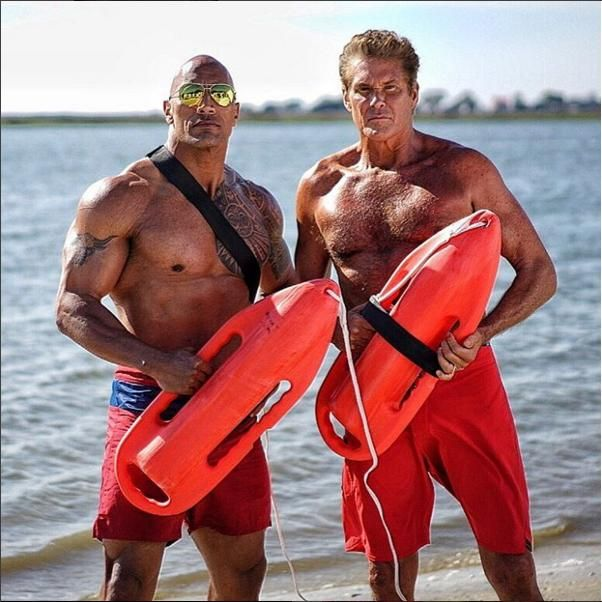 The Rock and David Hasslehoff on Baywatch movie set