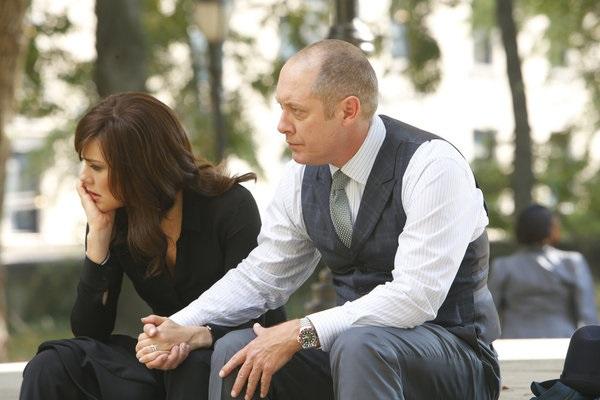 "THE BLACKLIST -- ""Gina Zanetakos"" Episode 105 -- Pictured: (l-r) Megan Boone as Elizabeth Keen, James Spader as Raymond ""Red"" Reddington -- (Photo by: Will Hart/NBC)"