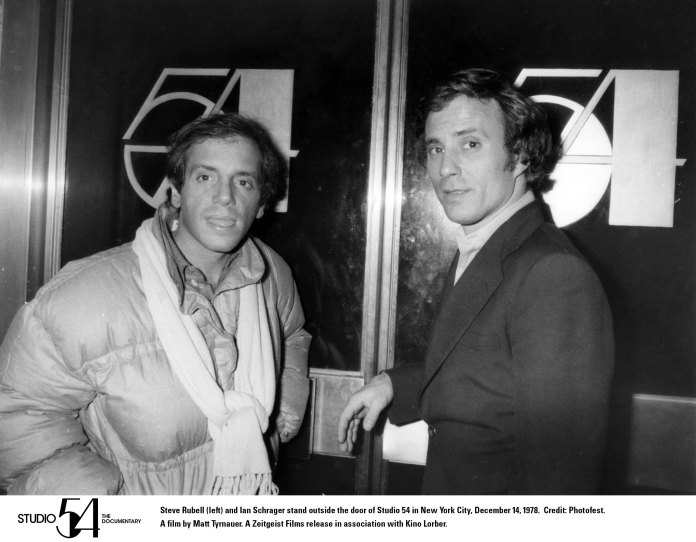 Ian Schrager (r) and Steve Rubell outside Studio 54. Photo Credit: Photofest. STUDIO 54. A film by Matt Tyrnauer. A Zeitgeist Films release in association with Kino Lorber.