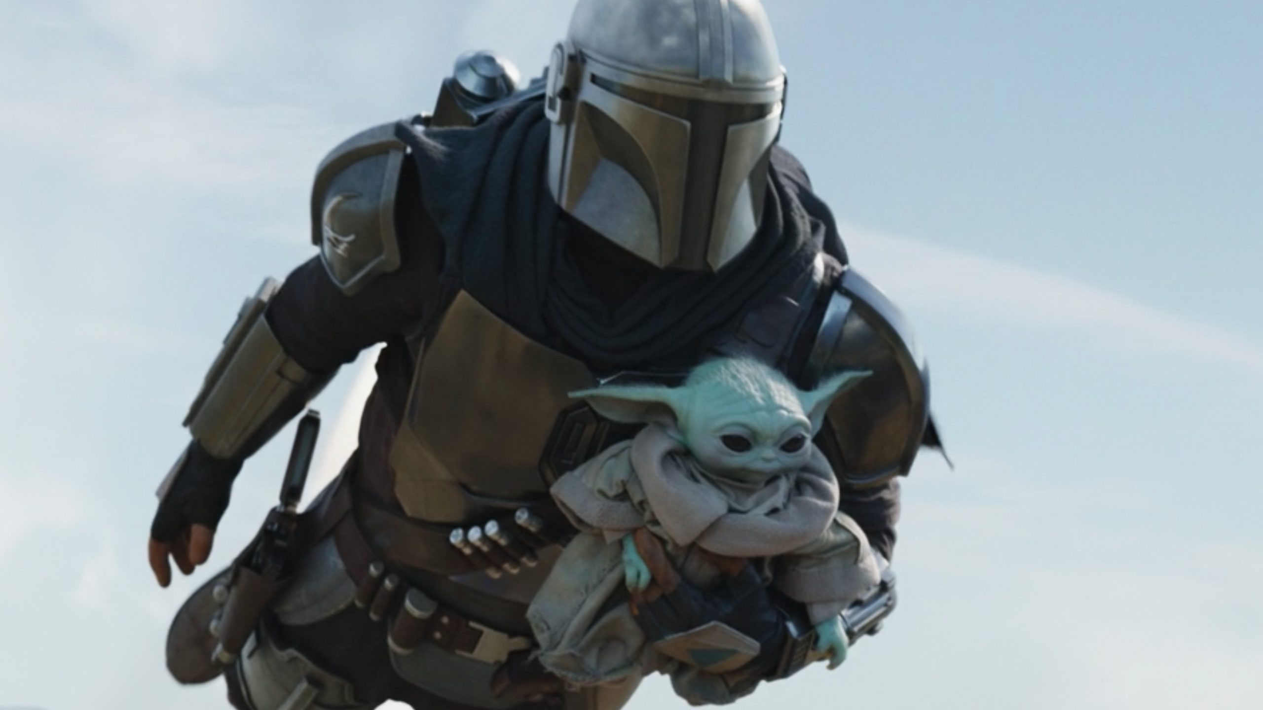 Grogu and Din flying in The Mandalorian
