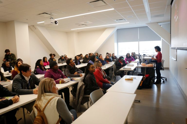 Local students participate in art and science lectures.