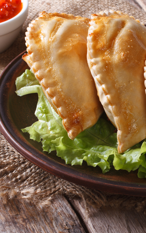 Succulent empanadas in choice of three flavors