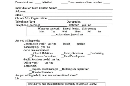 Free Forms 2018 » habitat for humanity volunteer form | Free Forms