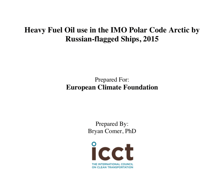 Heavy Fuel Oil use in the IMO Polar Code Arctic by Russian flagged Ships 2015