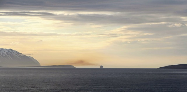 Cruise ship, one of the biggest to visit Iceland, leaving Akureyri, on the way out of Eyjafjörður ©Adam Asgeir Oskarsson