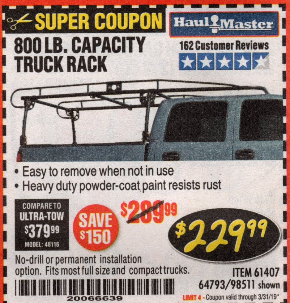 This is my review of the Harbor Freight Haul Master ladder rack. Harbor Freight Tools Coupon Database Free Coupons 25 Percent Off Coupons Toolbox Coupons 800 Lb Capacity Full Size Truck Rack