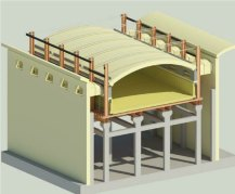 engineering-3D rendering of furnace building section