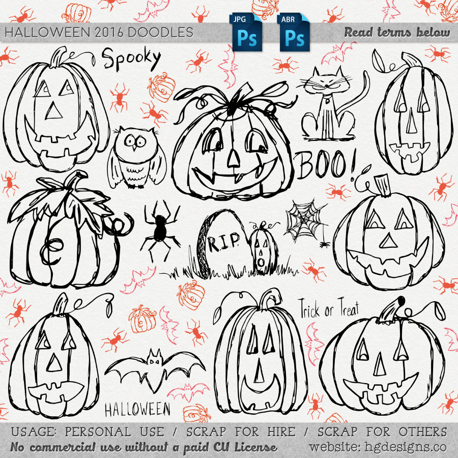 freebie: halloween doodle photoshop brushes – HG Designs