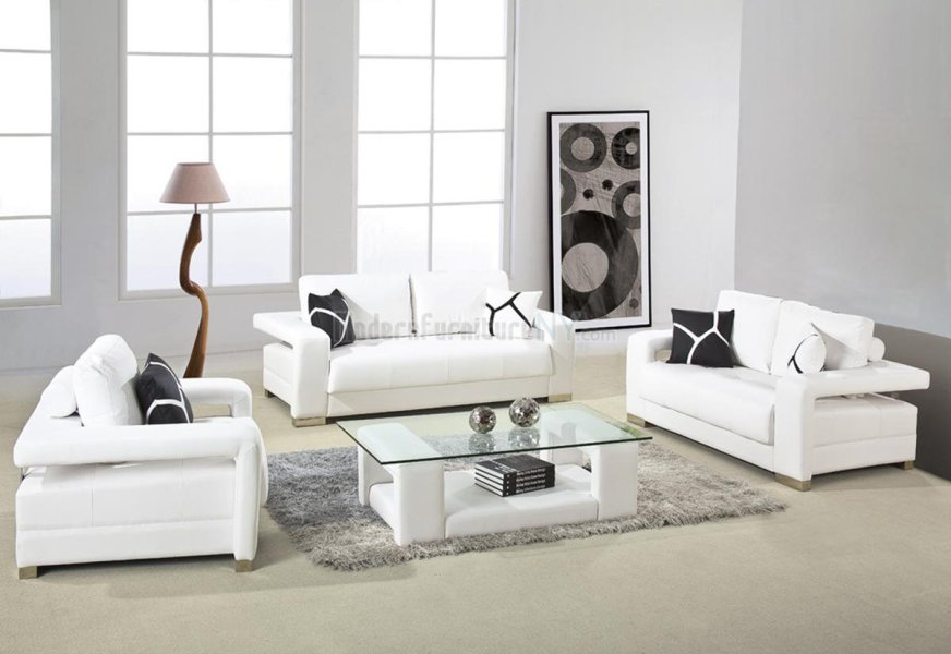 15 Awesome White Living Room Furniture For Your Living Space Living Room Furniture Design White Contemporary Sofa Sets