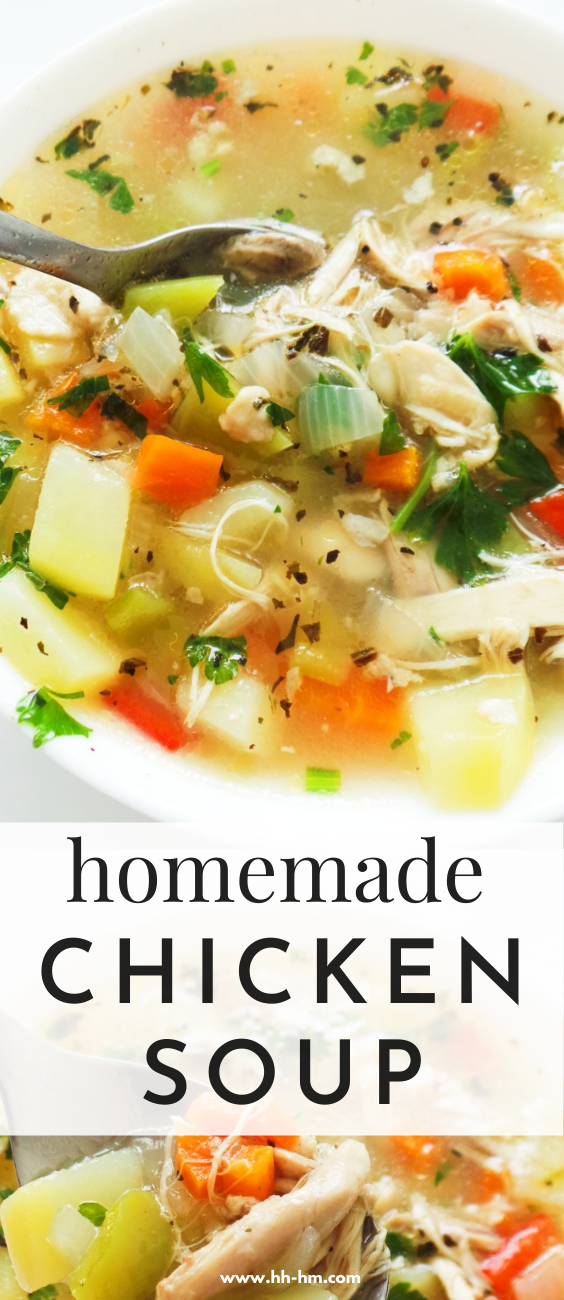Homemade Chicken Soup From Scratch! My favorite chicken soup! This is the tastiest, most satisfying homemade chicken soup that you can make from scratch! This soup is easy, healthy and perfect for dinner or lunch.